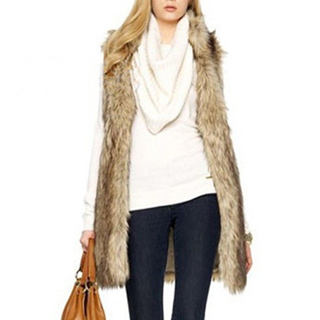 Women's Faux Fur Vest Winter Warm Sleeveless Coat Outwear Long Hair Jacket