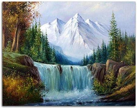 Bszhct Peinture Par Numero Paysage De Cascade De Montagne