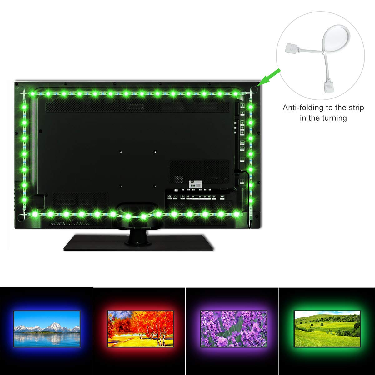 Flexible TV Backlight Lighting,USB Colourful LED Strip Lights 450CM/6.6ft 60 LEDS 5050 RGB Remote for 32 46 55 60 65 70 inch TV USB LED Bias Lighting Kit