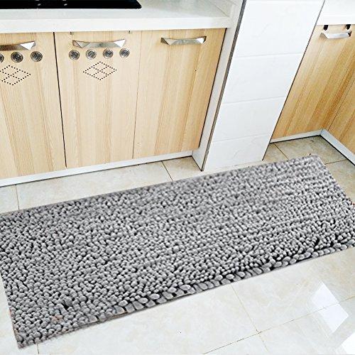 Fashion Dream Long Bath Rug Microfiber Shag kitchen Rug Runner Bathroom Mat Grey 16 x 47-Inches