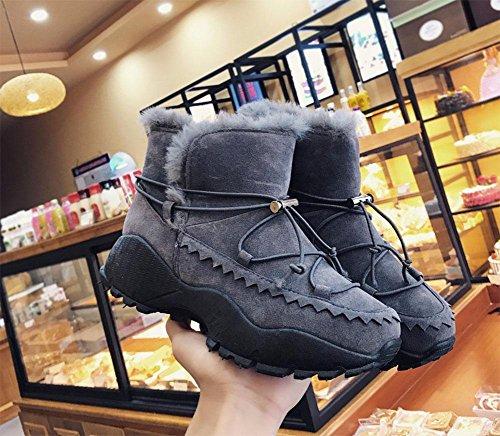 Fondo De Gray Además Mujer Algodón Grueso Zapatos Meili Cachemira Moda Tubo Botas Calidez Casual Corto Nieve wHqqaT