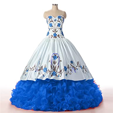 8e6843df179 DKBridal Sweetheart Embroidery Sweet 17 Ball Gowns Cinderella Quinceanera  Dresses Blue 2