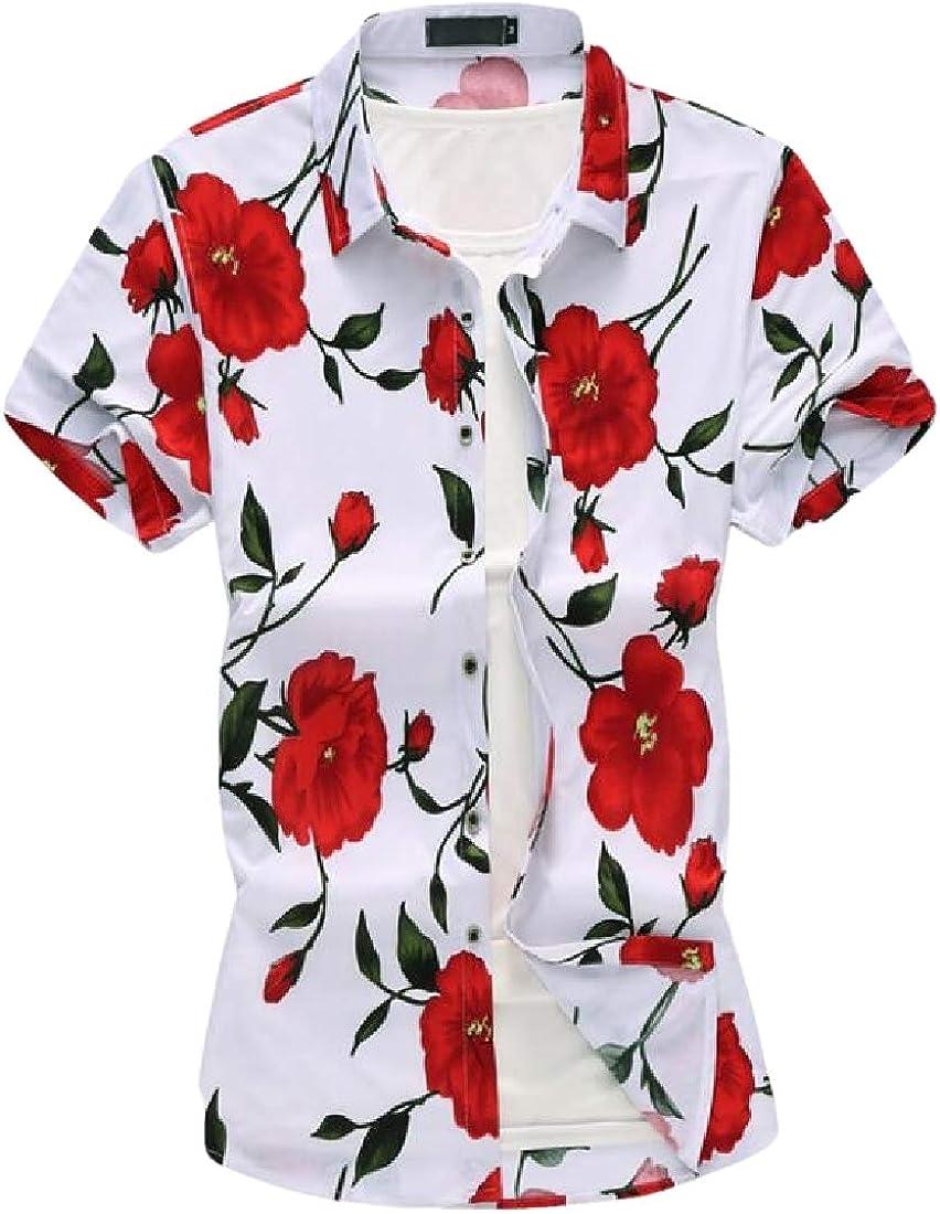 SHOWNO Mens Short Sleeve Fashion Floral Print Button Down Beach Shirts