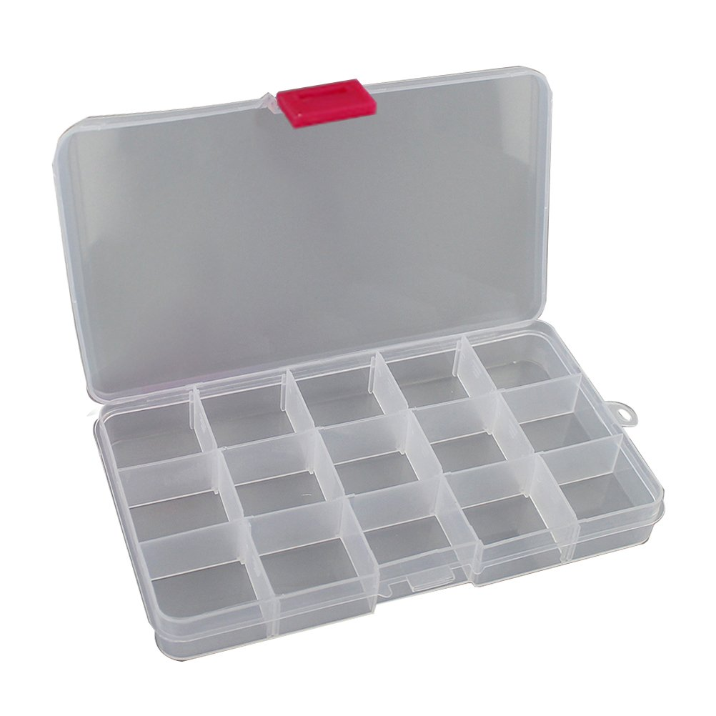 Zhhmeiruian Clear 15 Grid Organizer Box Storage Adjustable Container Case