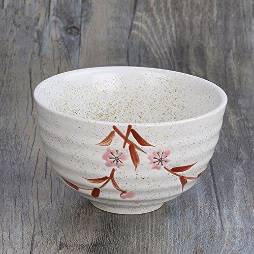 Miyare Japanese Style Ceramics Circle Pattern Bowl, Japanese Craft Matcha Bowl, Suitable for holding Rice, Dessert, Soup, etc. (Romantic Cherry)