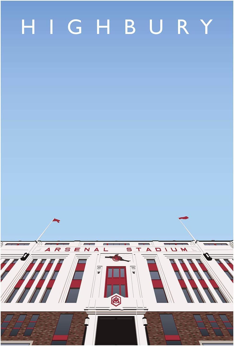Highbury Stadium East Stand A3 Art Illustration Poster Arsenal FC