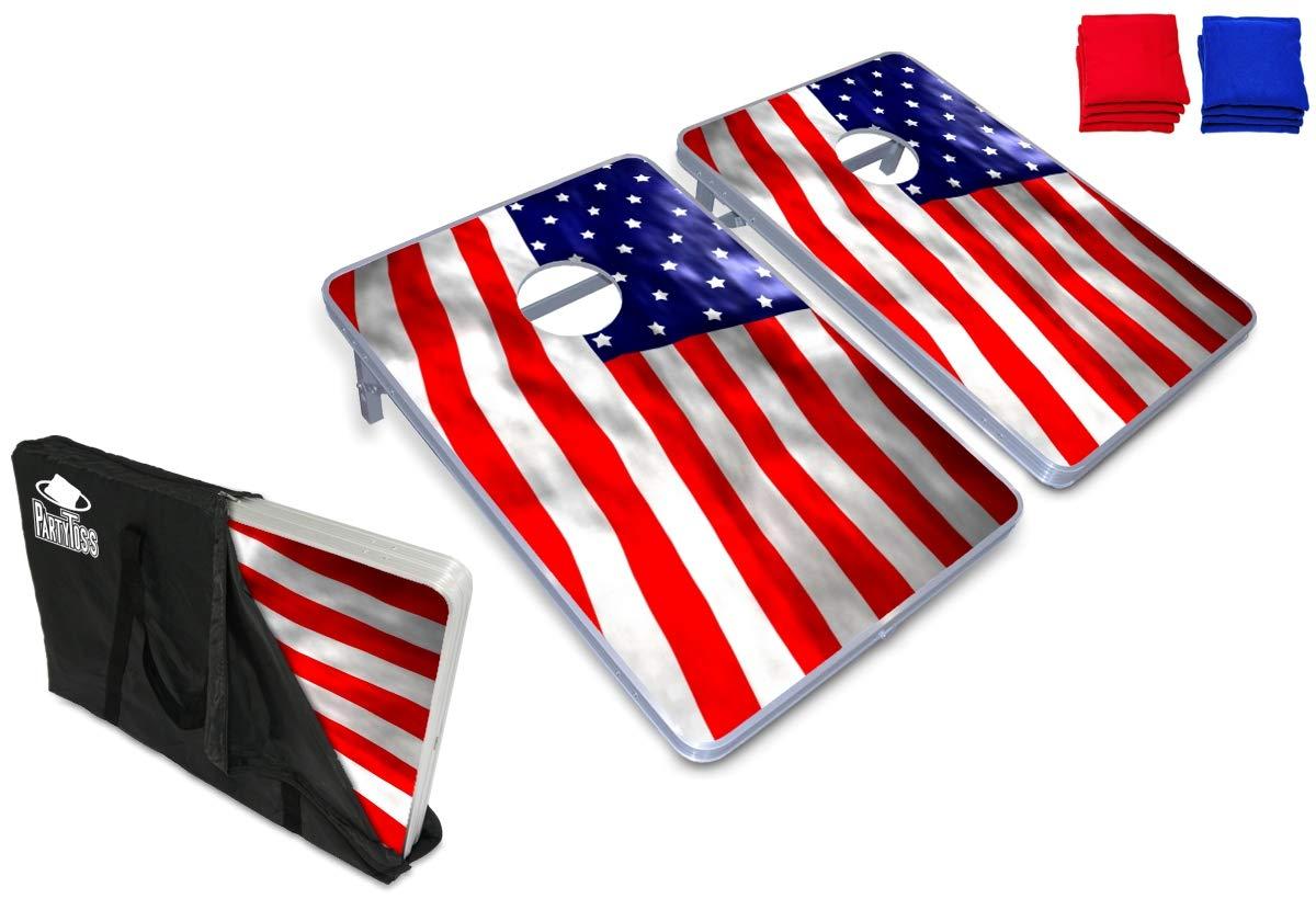 新しいパーティーPong製品 – パーティーToss CornholeボードBean Bag Toss Game Set w/オプション変光LEDライト(アメリカ、乾燥消去、トロピカル、カスタム、またはFootball) B07F1ZW2P2 USA Party Toss Cornhole Set USA Party Toss Cornhole Set