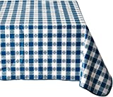 Winco 52-Inch x 90-Inch Checkered Table Cloth, Blue