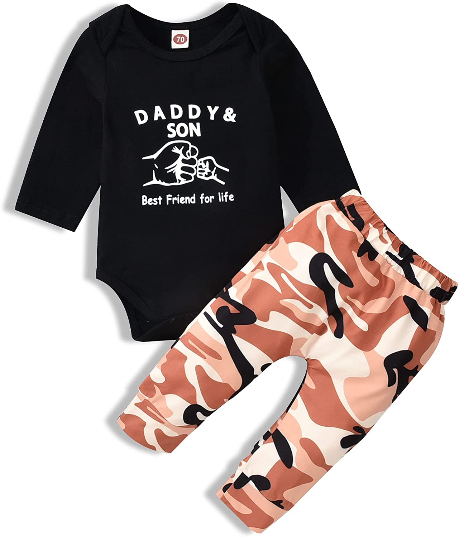 Newborn Baby Boy Clothes Baby Bear Letter Print Romper+Long Pants+Hat 3PCS Outfits Set White