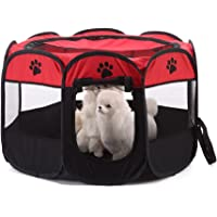 Dog Playpen,WMTGUBU Pet Pets 8 Mesh Zipper Sealed Bottom Portable Playpen Foldable Tent Exercise Kennel for Dog Cat…