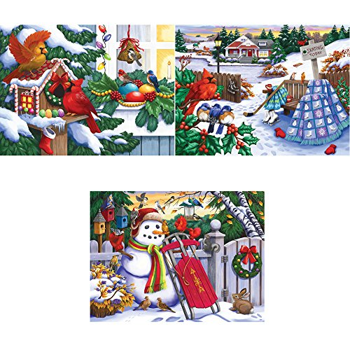 Bits and Pieces - Set of Three (3) 300 Piece Jigsaw Puzzle for Adults 18X24 - Christmas Winter Holiday Puzzles - 300 pc Jigsaws by Artist Nancy Wernersbach