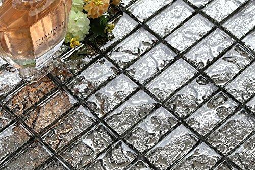 Grigio textured lava vetro mattoni mosaico piastrelle foglio