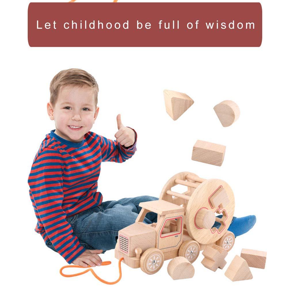 LAANCOO Holz Nachzieh-Spielzeug mit Form Sorter Holz Baby-Weg-Learning Trailer Toy Educational Weg entlang Spielzeug