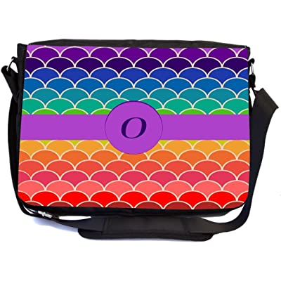"""Rikki Knight Letter """"O"""" Monogram on Rainbow Colors Scallop Design Multifunctional Messenger Bag - School Bag - Laptop Bag - with padded insert for School or Work - Includes UKBK Premium coin Purse"""