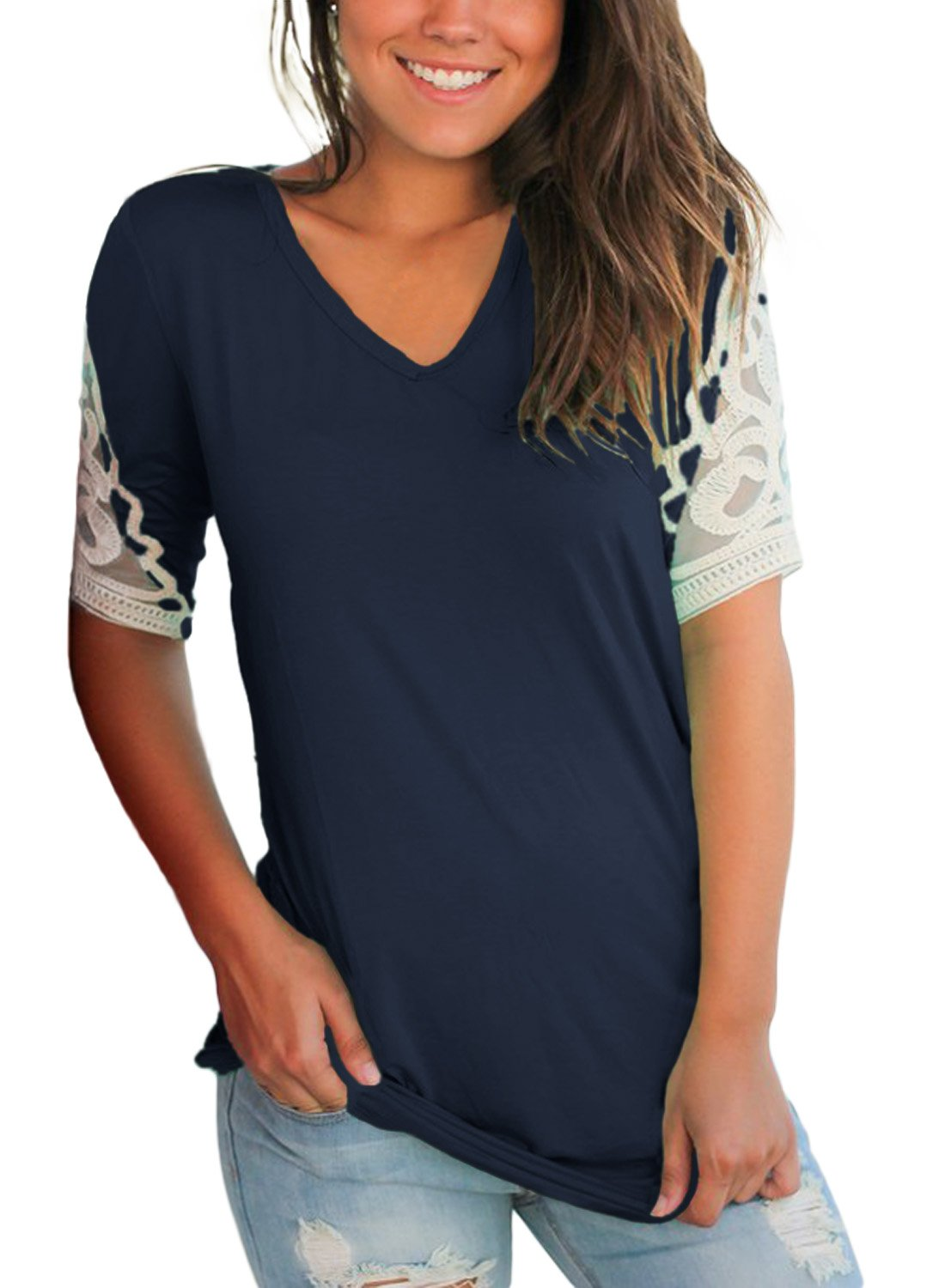 Lovezesent Casual Loose Blouses for Women Short Sleeve Summer V Neck Formal Office Tops Ruched T Shirts for Juniors Navy Medium