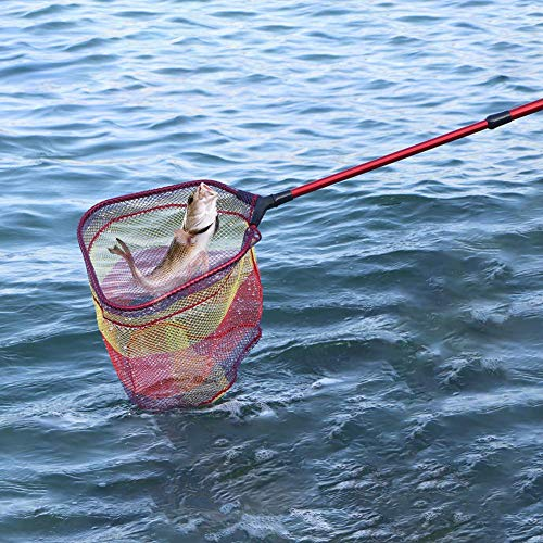 YVLEEN Kids Fishing Net for Lakes - Minnow Nets for Kids - Aluminum Collapsible Telescopic Fishing Pole Handle and Nylon Mesh Small Fishing net - Butterfly Nets for Kids Outdoor Playing