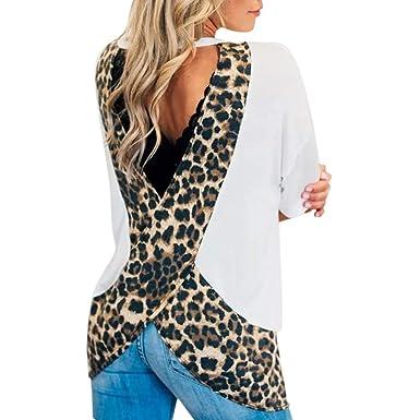 Gusspower Camiseta de Estampado de Leopardo para Mujer Vintage ...