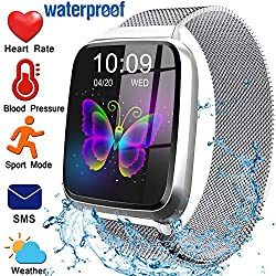 Fitness Tracker for Women Men with Blood Pressure Heart Rate Monitor 1.3 Touchscreen Waterproof Smartwatch Activity Tracker Pedometer Calorie Blood Oxygen Smart Wrist for Mothers Day Gift(Steel Band)