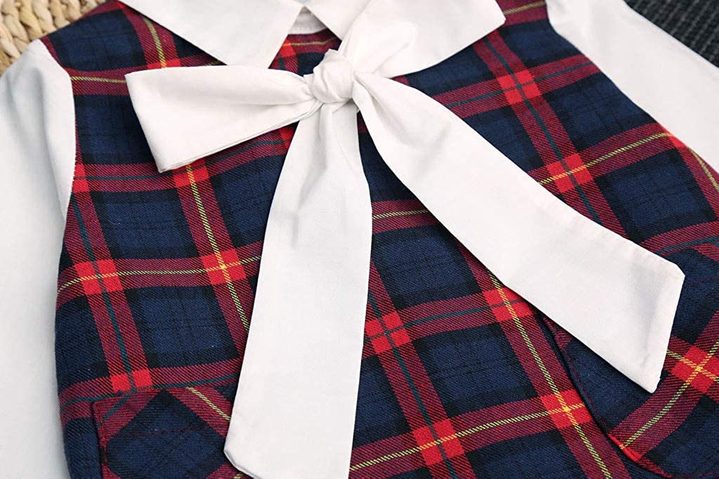AMhomely Baby Clothing Sale Toddler Kids Baby Girls Casual Plaid Bow-Tie Princess Party Dress Outfits UK Size Birthday Gift