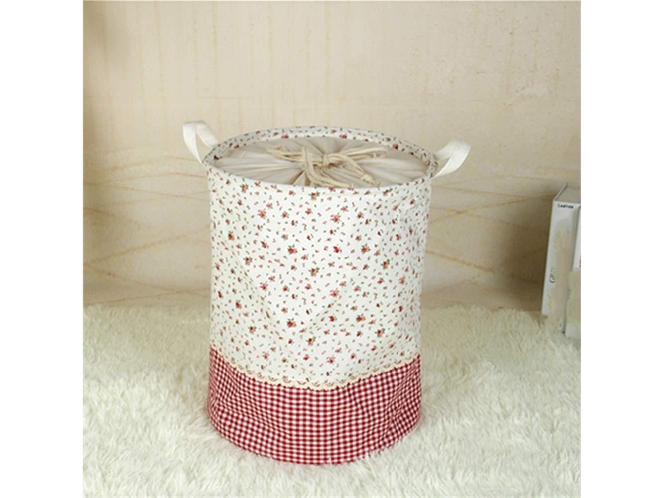 Storage Box Small Floral Pattern Tote Storage Basket Storage Bag Cotton and Linen Storage Box Sundries Storage Bucket(White)