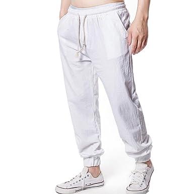 sélectionner pour le meilleur meilleure qualité personnalisé Pantalon Cargo Lin Homme,Overdose Casual Été Pantalons ...