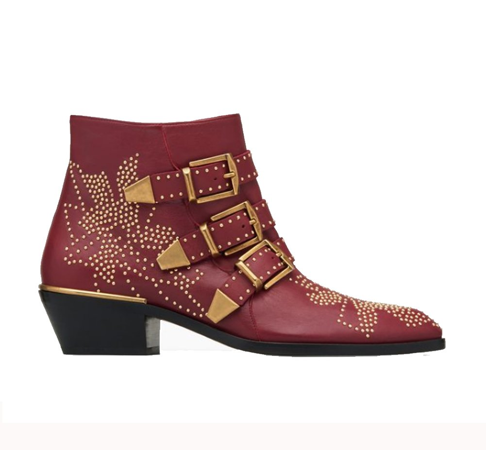 Comfity Women's Rivets Studded Shoes Metal Buckle Low Heels Ankle Boots B07FQ9BBZP 43 (M) EU|Wine Red
