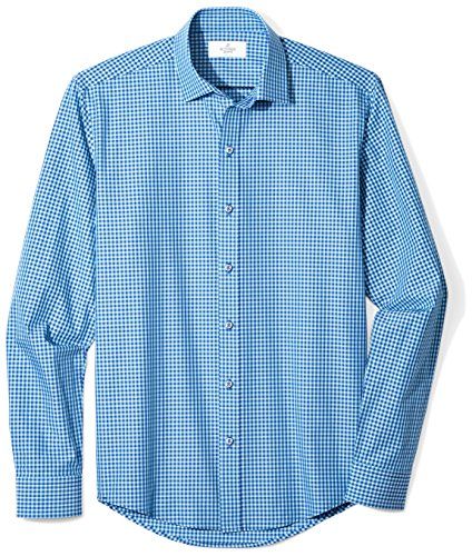 BUTTONED DOWN Men's Slim Fit Supima Cotton Spread-Collar Dress Casual Shirt, Teal/Navy Small Gingham, M 34/35 (Dress Gingham Navy)