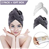 Duomishu 2 Pack Hair Towel Wrap Turban Microfiber Drying Bath Shower Head Towel with Buttons,Gift Box Package, Quick…