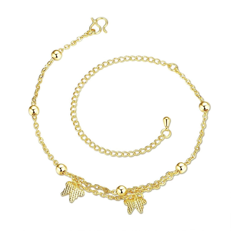Beydodo Silver/Gold Plated Anklet Bracelet for Women Bead Butterfly Pendant 20+10CM Girl Beach Jewelry