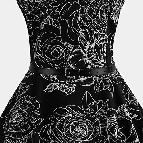 Hepburn Negro Manga Moda de 3 Estampado Sexy Elegante Ceremonia para Cóctel Evening Vacación Vintage Floral Vestidos Playa Fiesta Boda Vestir sin Mujer Verano Prom la Casual Mini vq4pw4fY