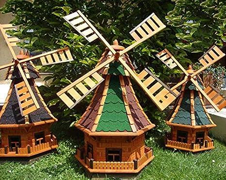 Robusta Madera Maciza – Molino de viento, con estación fijo betún techo, Ölbaum, molino de viento para jardín, jardín Windmühlen, wmbb1 00ro + BL de EOS sin/con Solar Iluminación Luz 1 m