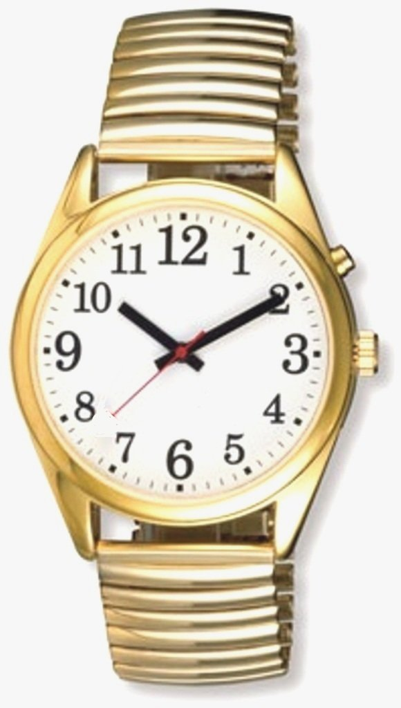 EXTRA LARGE FACE Talking Wrist Watch Gold Tone Great for Low Vision or Blind by Active Products Plus