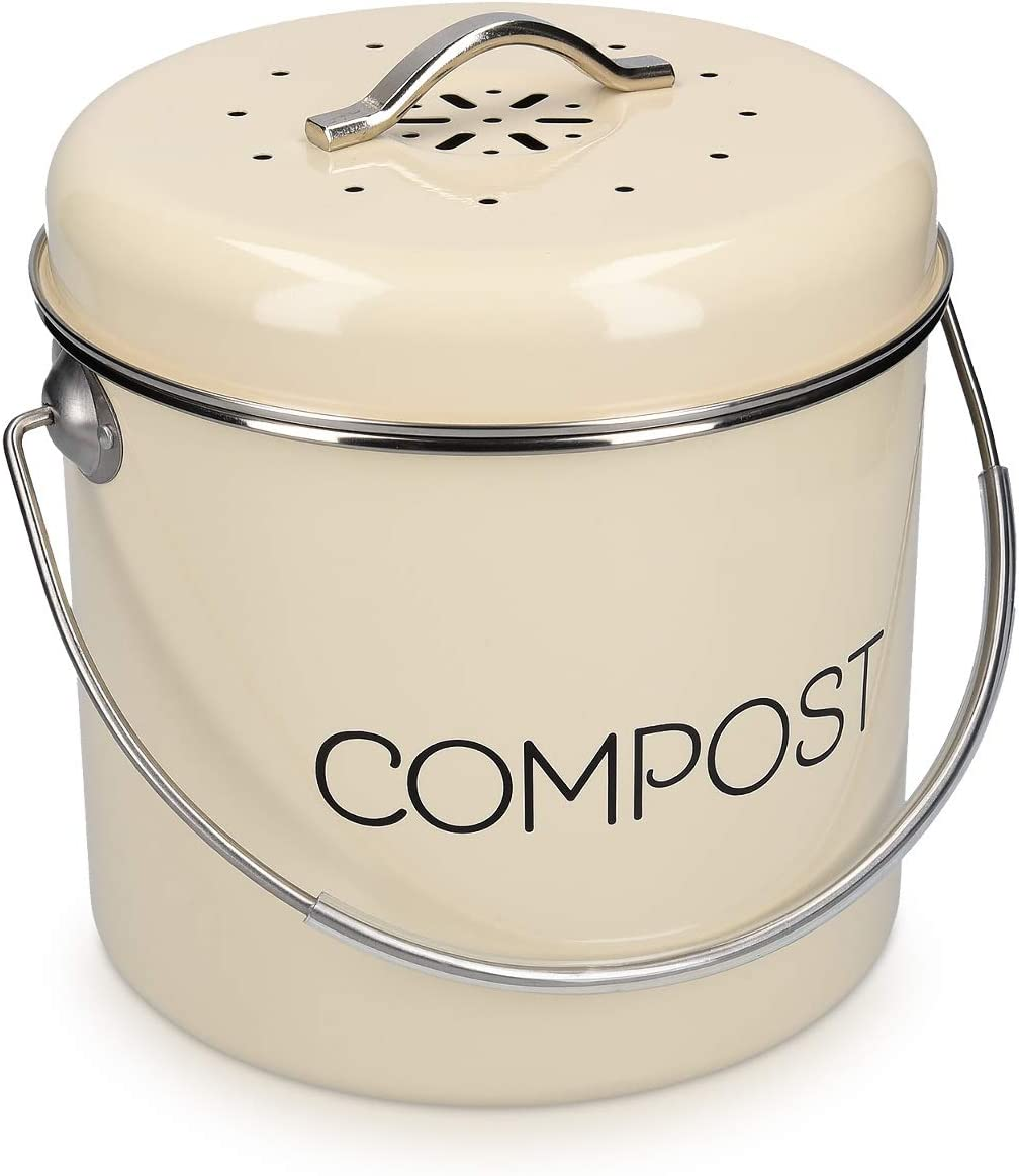 Navaris Compost Bin for Kitchen Counter - 1.3 Gallon (5L) Metal Countertop Indoor Composter Bucket with Charcoal Filter and Lid - Cream, Size Medium