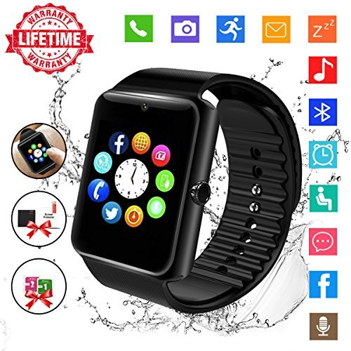 Smart Watch,Bluetooth Smartwatch Touch Screen Wrist Watch with Camera/SIM Card,Waterproof Phone Smart Watch Sports Fitness Tracker for Android iPhone IOS Huawei Sony for Kids Women Men (GT08-Black) by Topffy