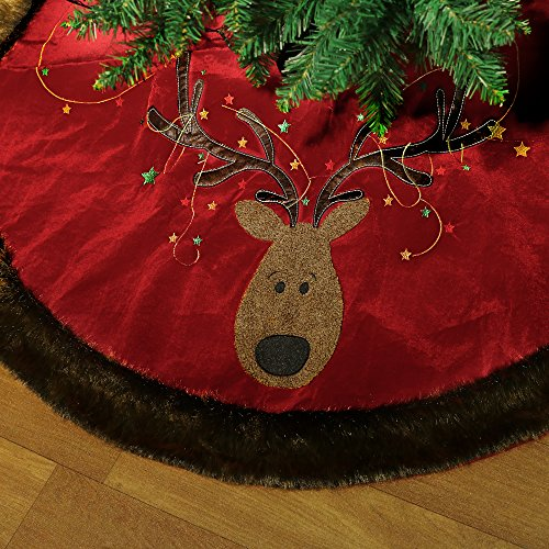 Valery Madelyn 48 Inch Red Green and Gold Country Velvet Reindeer Christmas Tree skirt with Faux Fur Trim Border,Themed with Christmas Ornaments (Not Included) (Velvet Skirt Tree)