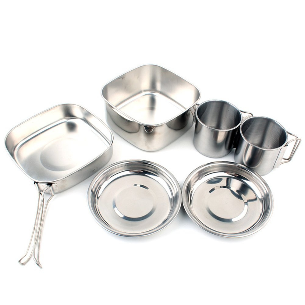 Aland 6Pcs Stainless Steel Picnic Cookware Camping Backpacking Cooking Pot Pan Cup Set