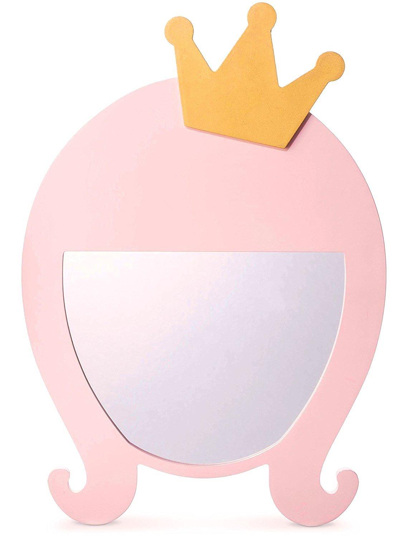 Qutool Princess Decorative Wall Mirror Kids Mirrors Pink for Girls Kids Room Wall-Mounted Mirrors A Dreamlike World for Princess Girl(Princess)