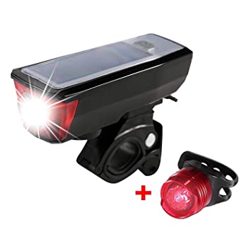 Lumens USB Rechargeable Bike Light Bicycle Bell Front Tail Lights Solar Power