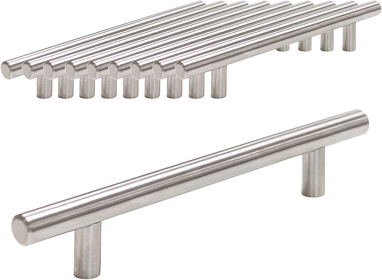 25 Pack Probrico Brushed Nickel Stainless Steel Kitchen Cabinet T Bar Handle Furniture Drawer Pulls Cupboard Knobs 96mm Hole Centers - 150mm Long