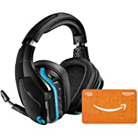 Logitech G935 Wireless 7.1 Surround Sound LIGHTSYNC Gaming Headset (981-000742) with $50 Amazon Gift Card Bundle