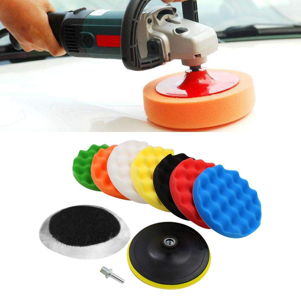 4 Inch Terisass 10 Pcs Sponge Cleaning Pads Car Polishing Pads Polishing Buffing Waxing Pad Sponge Woolen Polishing Pad Polisher Buffer Pads Kit Set for Car Polisher Buffer with Thread Drill Adapter