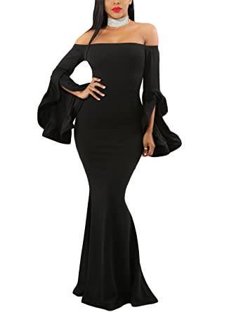 71bb590805a8 AlvaQ Womens Ladies Sexy Off Shoulder Bell Sleeves Evening Gown Fishtail  Bodycon Maxi Formal Dress Party
