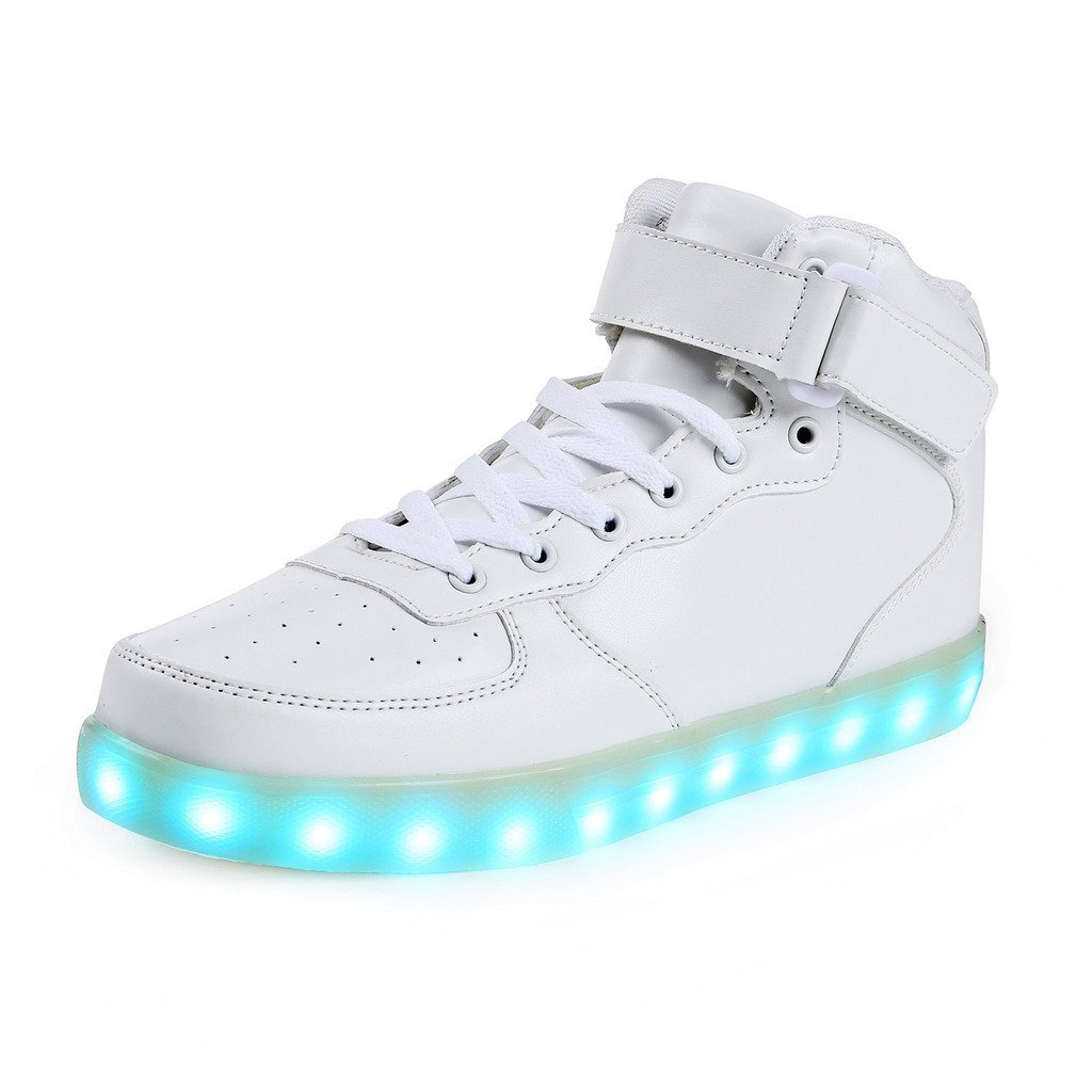 6KZMNA0Z0A Colorful Luminous Shoes USB Charging Flash Shoes high to Help Magic Board Shoes