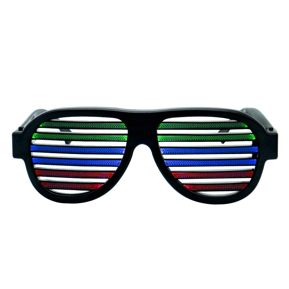 Ameyes USB Rechargeable Light Up Shutter Shaded Glasses Music & Sound Reactive Flashing Funny Party Glasses Slotted Glasses(Black) by Ameyes