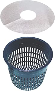 Net Pot 6 Inch Raised Center Bottom Mesh Sided with Free Reflective Pot Lids for Hydroponic System and Plant Growing Pack of 10