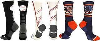 product image for MadSportsStuff Baseball Logo Athletic Crew Socks (Multiple Colors)