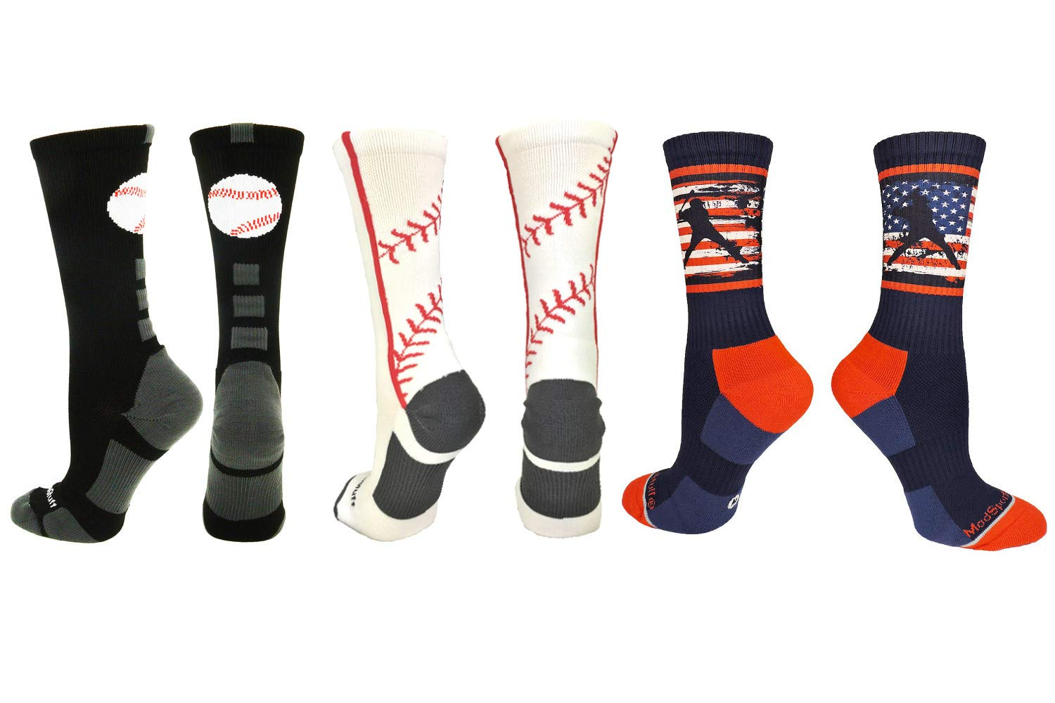 MadSportsStuff Baseball Logo Stitch USA Crew Socks Combo Pack (3 Pack-Multi, Medium) by MadSportsStuff