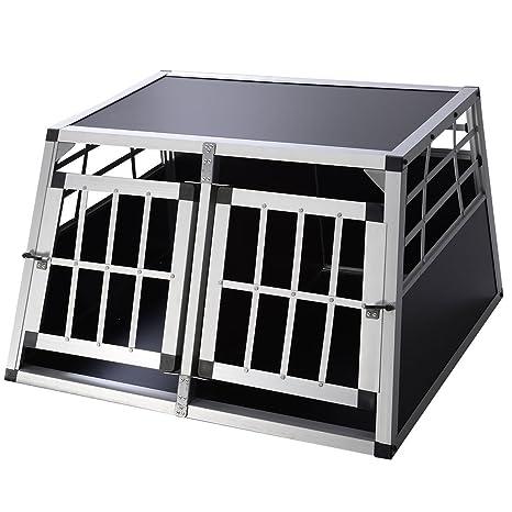 Caja de transporte Caja de perro Parque de caseta de aluminio de 2 puertas Jaula w