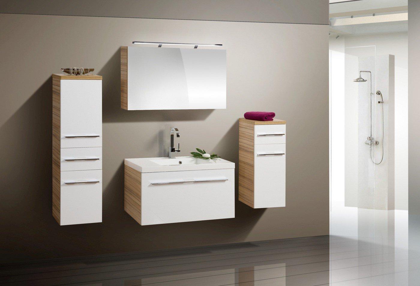 Badmöbel Set mit Design Spiegelschrank 90 cm