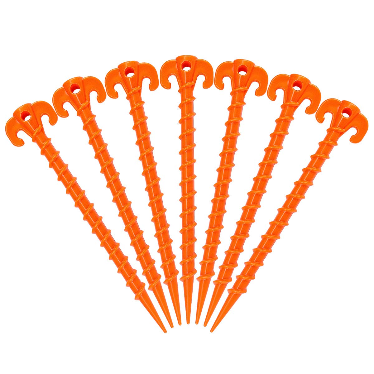 Hikemax Spiral Plastic Tent Stakes 15 Pack - 10 Inch Heavy Duty Beach Tent Pegs Canopy Stakes - Essential Gear for Camping, Backpacking, Gardening and More by Hikemax